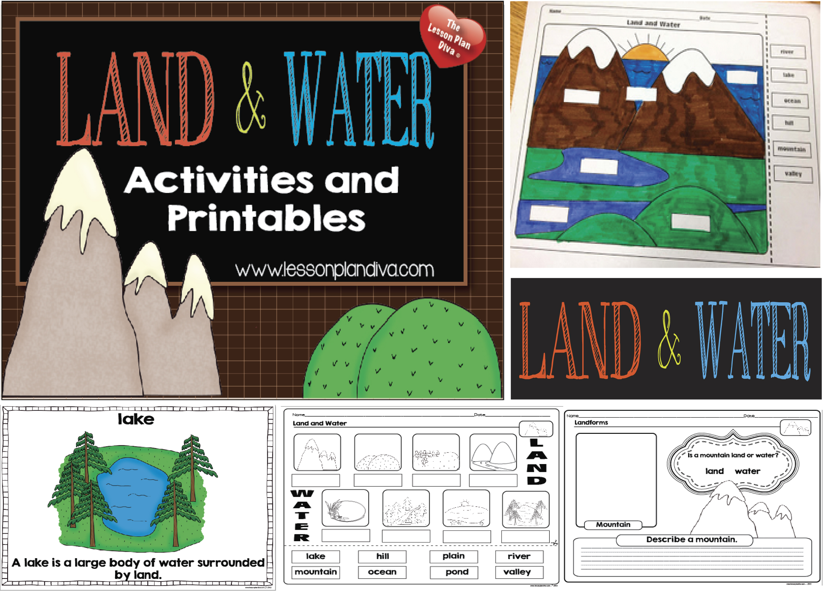 Land And Water Features Worksheet Landforms and bodies of water ...