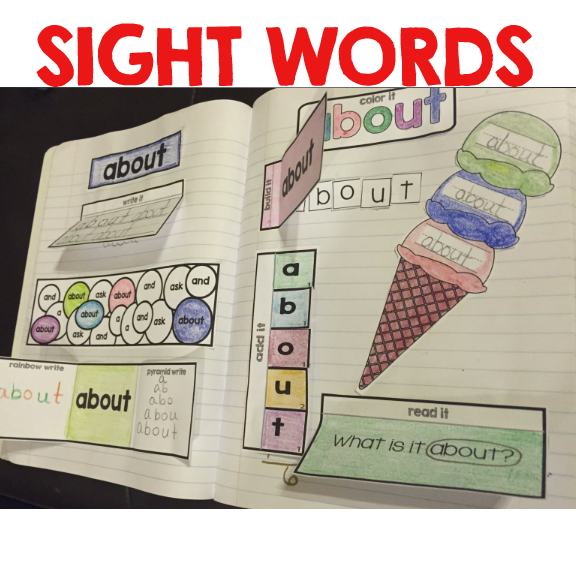 get sight Sight book Notebook Word word  Interactive
