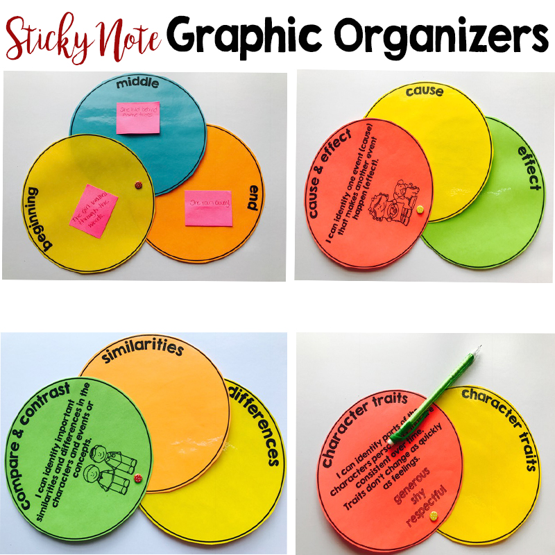 Sticky note graphic organizers
