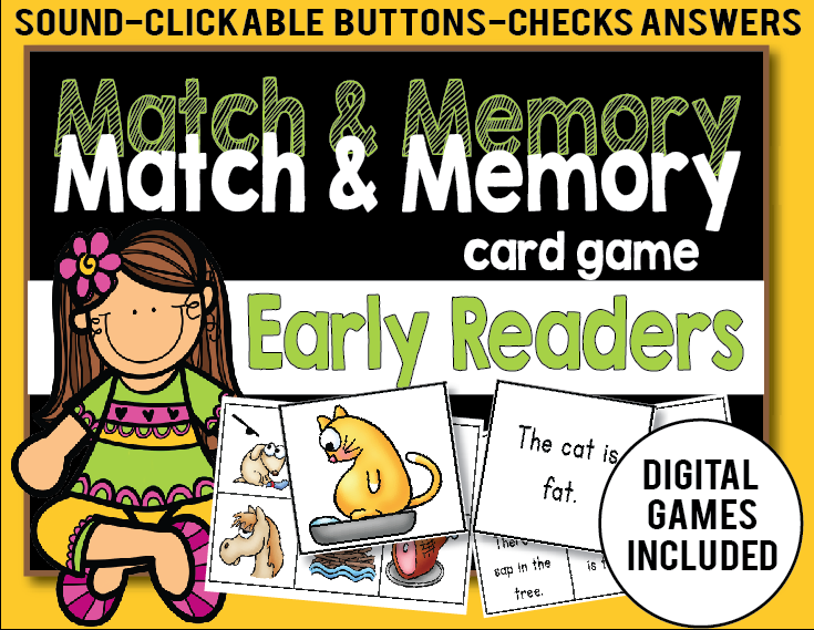 Memory Card Games with Digital Games Included! - The Lesson Plan Diva